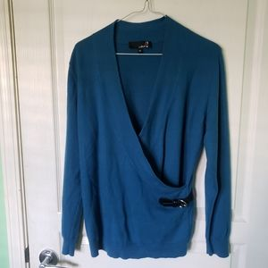 Laura Teal Blue Wool Blend Sweater Womans Size L
